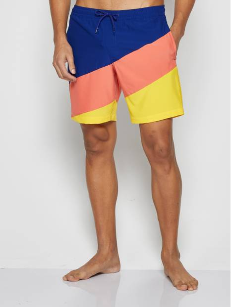 Color-Block Print Swim Trunks