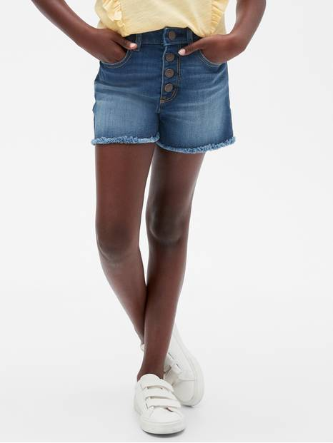 Kids Raw-Hem High Rise Denim Shorts