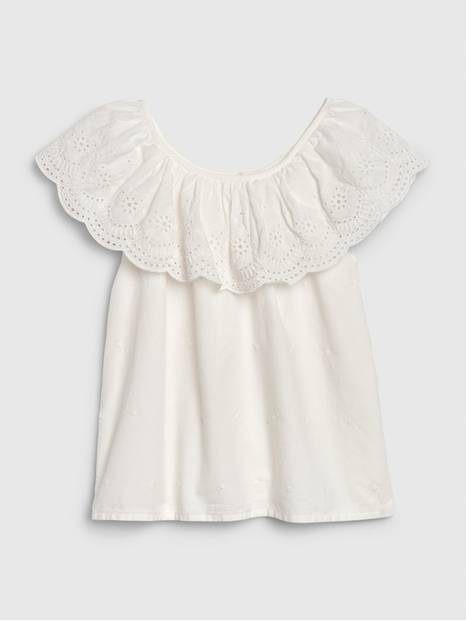 Kids Eyelet Ruffle Top