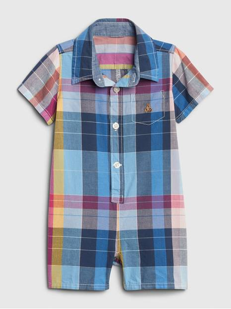 Baby Brannan Bear Plaid Shorty One-Piece