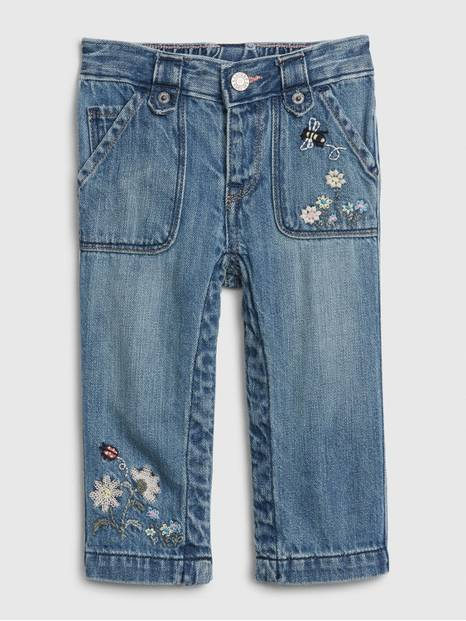 Baby Floral Denim Straight Jeans