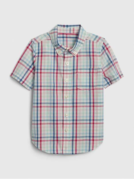 Toddler Plaid Poplin Short Sleeve Shirt
