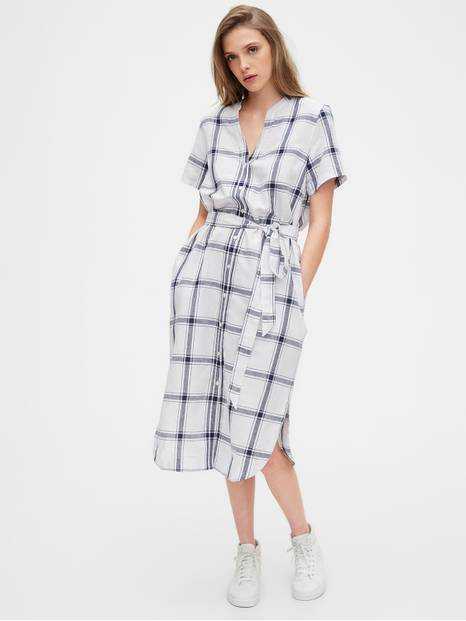 Midi Shirtdress in Linen-Cotton