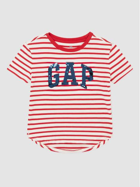 Kids Flippy Sequin Logo Stripe T-Shirt