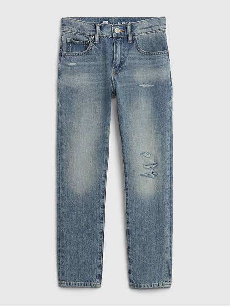 Kids Distressed Slim Taper Jeans with Stretch