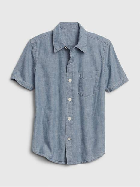 Kids Short Sleeve Chambray Shirt