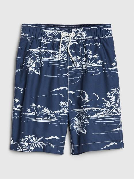 Kids Island Print Swim Trunks