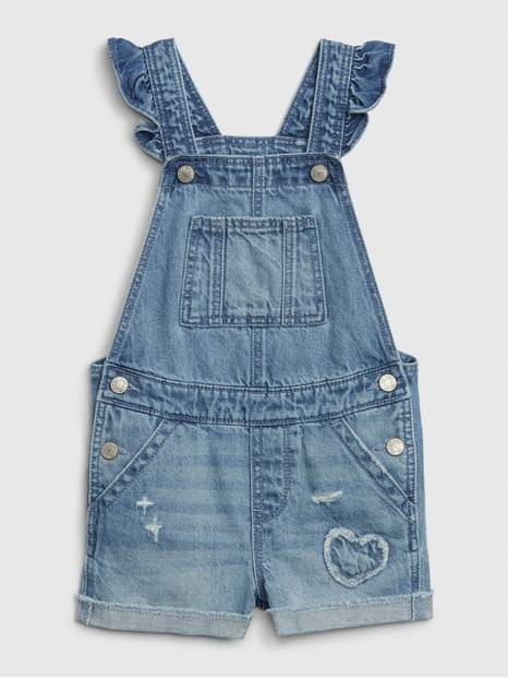 Toddler Denim Ruffle Overalls