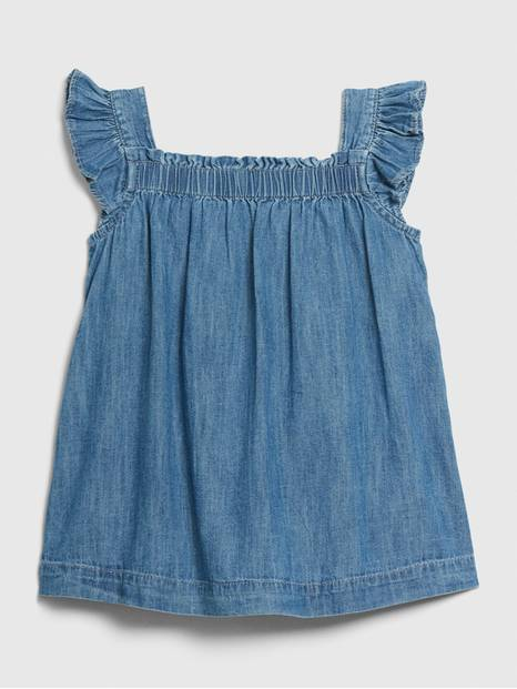 Baby Denim Flutter Dress