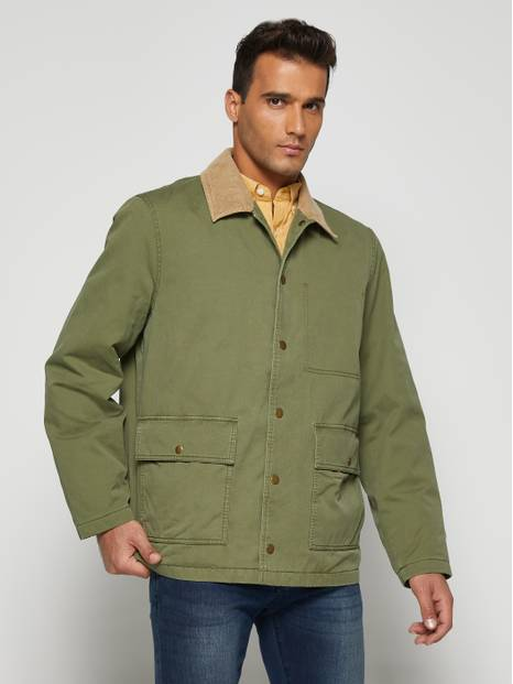 Contrast Collar Utility Jacket