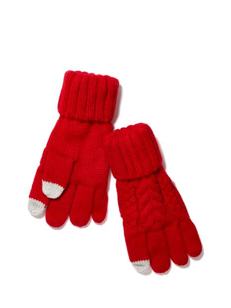 Kids Smartphone Cable Knit Gloves