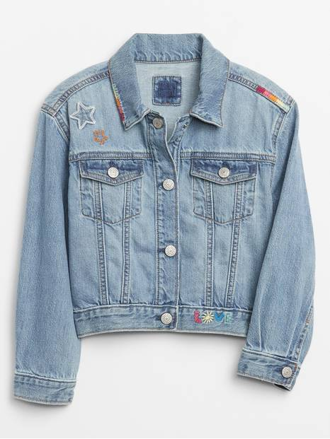 Kids Cropped Denim Graphic Icon Jacket