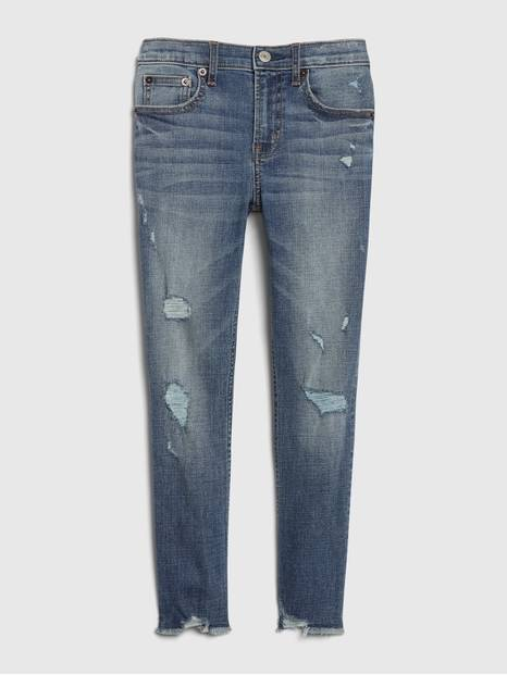 Kids Patch Skinny Ankle Jeans with Stretch