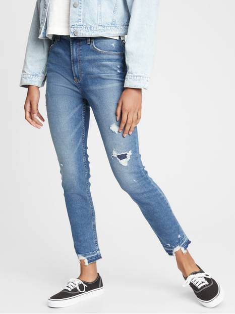 Teen Destructed Sky High Rise Skinny Jeans with Stretch