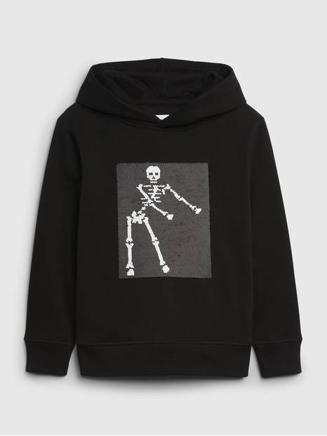 Kids Flippy Sequin Dancing Skeleton Hoodie Sweatshirt