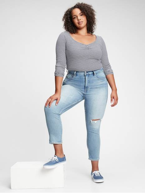 High Rise Destructed Cigarette Jeans with Secret Smoothing Pockets