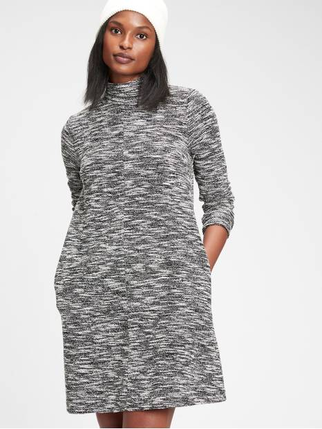 Bouclé Mockneck Swing Dress