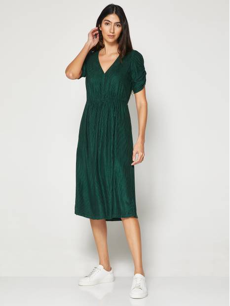 Corduroy Wrap-Front Midi Dress