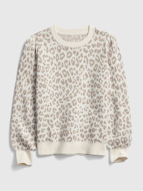 Kids Leopard Print Crewneck Sweater