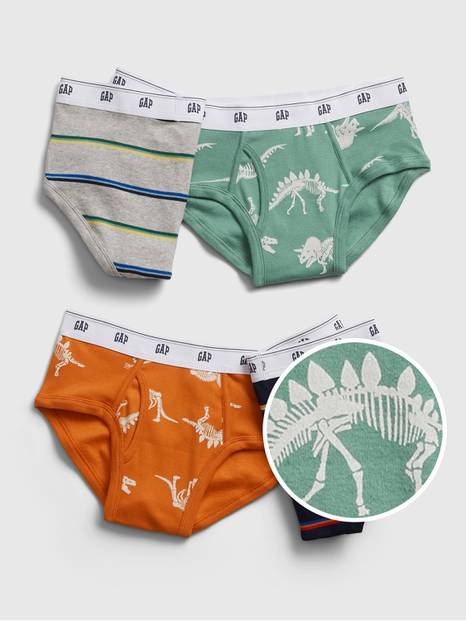 Kids Dinosaur and Stripe Briefs (4-Pack)