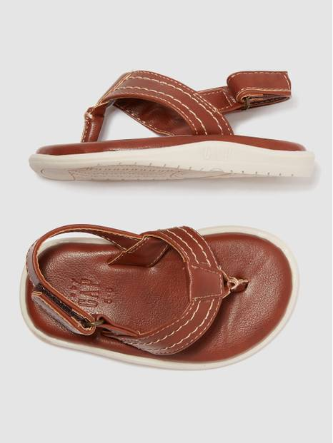 Toddler Faux-Leather Flip Flops