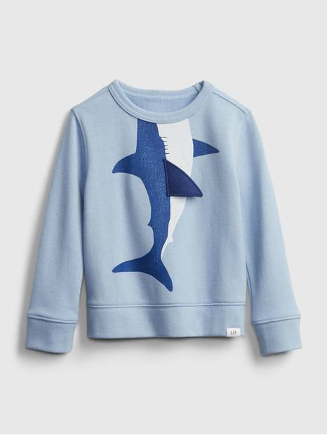Toddler 3D Shark Graphic Crewneck Sweatshirt