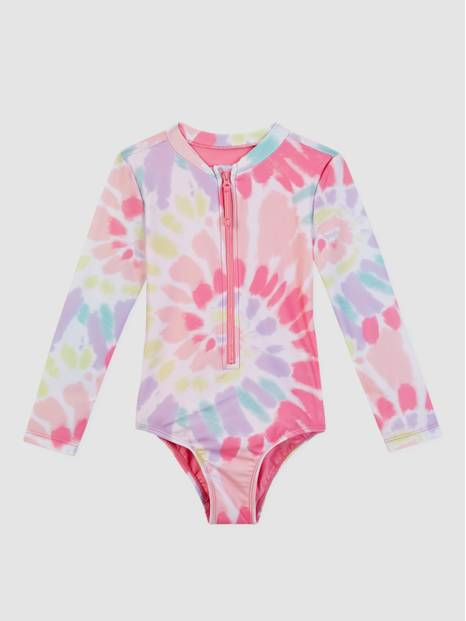 Kids Recycled Tie-Dye Swim Rash Guard One-Piece