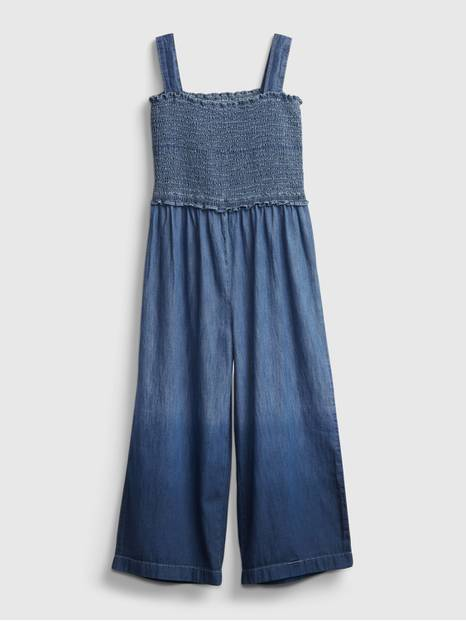 Kids Dip-Dye Smocked Denim Jumpsuit