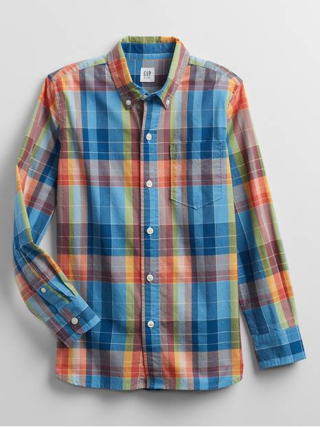 Kids Plaid Button-Down Shirt