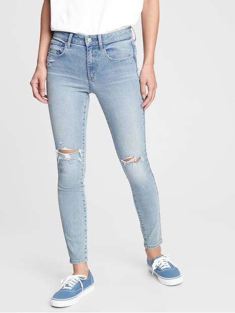 Mid Rise Distressed Universal Jeggings