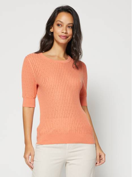 Elbow Sleeve Pointelle Sweater