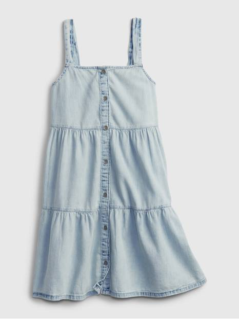 Kids Denim Tiered Dress
