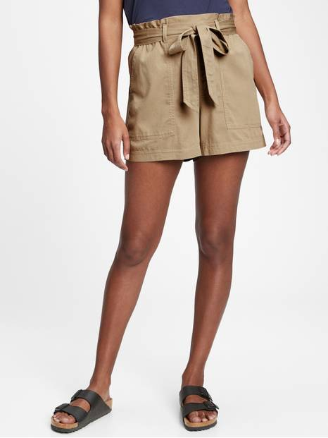 "4"" High Rise Paperbag Khaki Shorts"